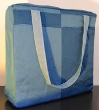 Borsa in tessuto blu e azzurro 36x36 cm