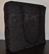 Borsa in tessuto nero damascato 33×33 cm