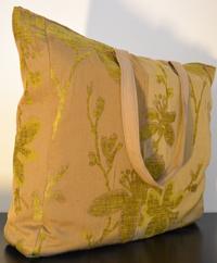 Borsa in tessuto beige vellutato a fiori 45×47 cm