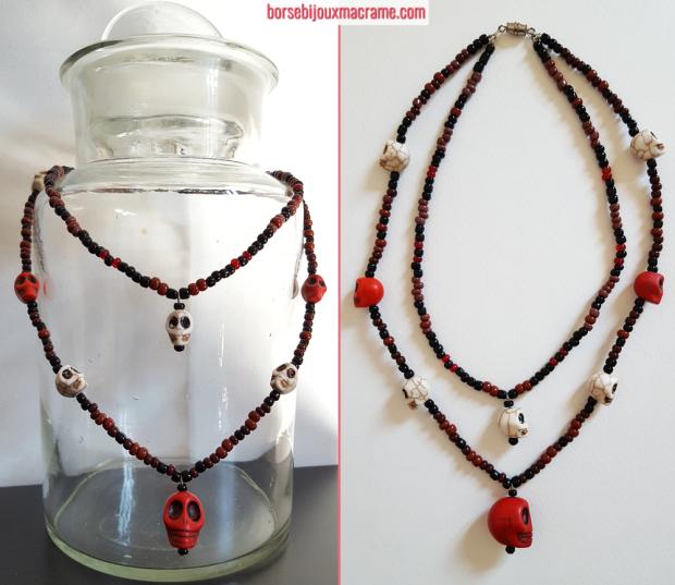 Bijoux _ Collana con perline e teschi di diverse dimensioni bianchi e rossi