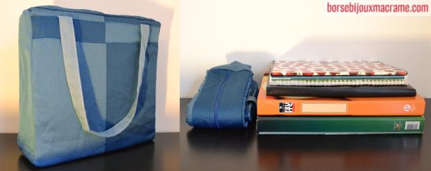 Borsa in tessuto blu ed azzurro 36x36 cm
