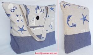 Borsa mare in tessuto blu e crema con tema marinaresco