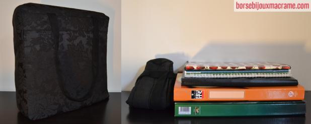 Cosa può contenere la borsa in tessuto nero damascato 33x33