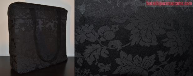 Borsa in tessuto nero damascato 33x33 con taschino interno