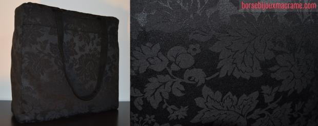Borsa in tessuto nero damascato con taschino interno