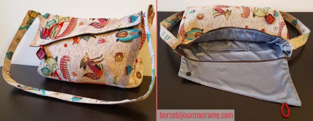 Borsa tascapane con tracolla, in tessuto beige con volpi colorate
