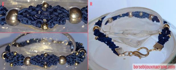 Macramè _ bracciale blu con perline in metallo