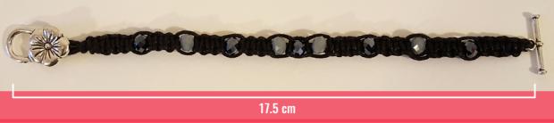 Macramè _ Bracciale nero con perline e chiusura a fiore lunghezza 17.5