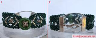Macramè _ bracciale verde con perline e bottone