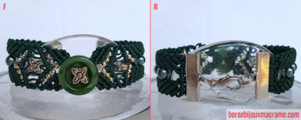 Macramè _ bracciale verde con bottone
