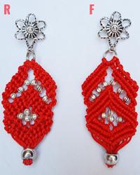 Macramè _ Orecchini pendenti rossi con perline argentate e fiorellino