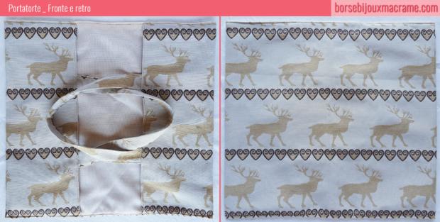Portatorte in tessuto color crema con renne cuori perfetto per Natale