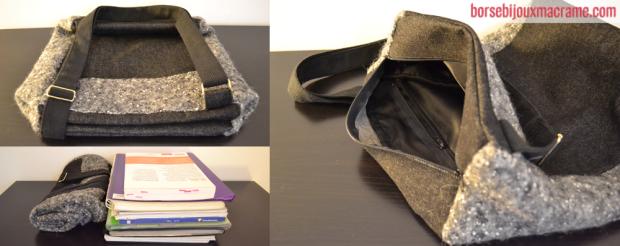Dalla foto è possibile vedere quanti quaderni e libri può contenere questa tracolla. Nel dettaglio a destra si vede la tasca interna con cerniera.