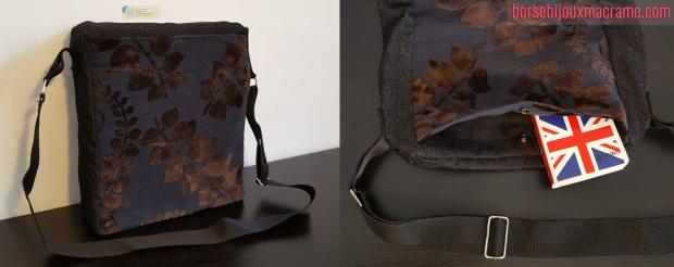 Tracolla in jeans scuro e tessuto vellutato floreale 30x25 cm
