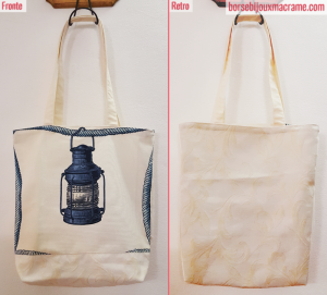 Shopper mare in tessuto blu e crema con tema marinaresco