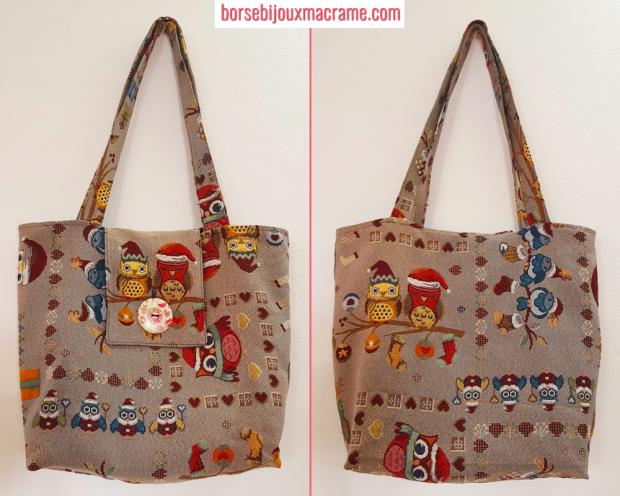 Viste fronte e retro della borsa natalizia con gufi