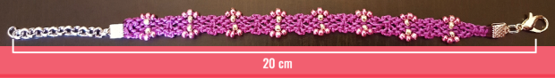 Macramè - Bracciale fucsia con perline rosa