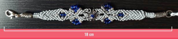 Macramè - Bracciale filo grigio e perline blu