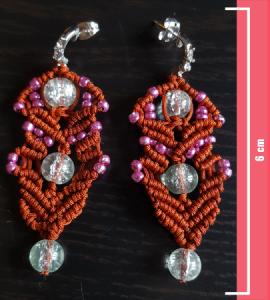 Macramè - Orecchini filo rosso e perline trasparenti