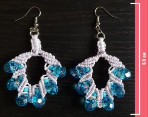Macramè - Orecchini filo grigio chiarissimo e perline color turchese